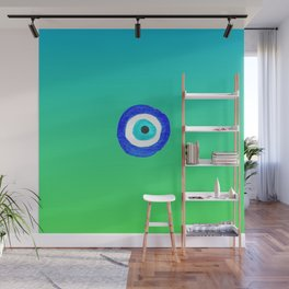 Single Evil Eye Amulet Talisman Ojo Nazar - ombre lime to tuquoise Wall Mural