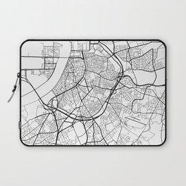 Antwerp Map, Belgium - Black and White Laptop Sleeve