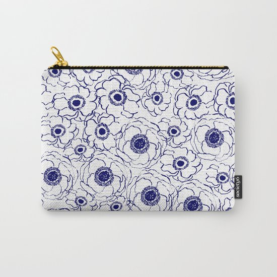 Painterly flowers indigo blue bright minimal modern painting gender neutral abstract art dorm room Carry-All Pouch