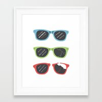 sunglasses Framed Art Prints featuring Sunglasses by Things and Other Things