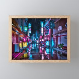 Cyberpunk Aesthetic in Tokyo at Night Framed Mini Art Print