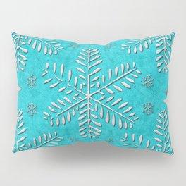 DP044-11 Silver snowflakes on turquoise Pillow Sham