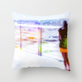 standing alone at the beach with summer bokeh light Throw Pillow