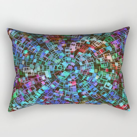 Blue Squared Vortex Rectangular Pillow