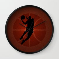 lakers Wall Clocks featuring SLAM DUNK - JORDAN by alexa