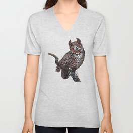 Great Horned Owl with Headphones Unisex V-Neck