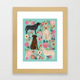 Labrador Retriever dog breed floral pattern for dog lover chocolate lab golden retriever labradors Framed Art Print