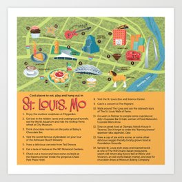 Square Map of St. Louis Art Print