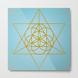Golden Goodness Triangle Dance Sacred Geometry Abstract Design Metal Print