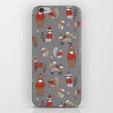 Christmas winter woodland animals foxes deer bunnies moose holiday cute design iPhone Skin