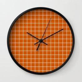 Burnt orange - orange color - White Lines Grid Pattern Wall Clock