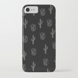 Cactus Pattern Black iPhone Case