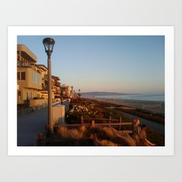 Manhattan Beach Boadwalk Sunset 2 Art Print