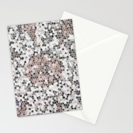 Star Shaped Patchwork in White, Pink And Black Stationery Cards
