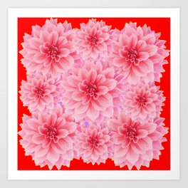 PINK DAHLIA FLOWERS IN RED COLOR ART Art Print