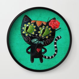 Black cat of the dead Wall Clock