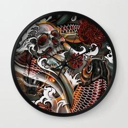 Japanese Koi & Skull by artist Sarah Bliss Rasul Wall Clock