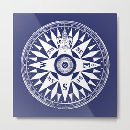 Nautical Compass | Vintage Compass | Navy Blue and White | Metal Print