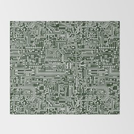 Circuit Board // Green & White Throw Blanket