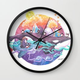 Penguins travel across colorful sky ocean in penguin plane and on a killer whale Wall Clock