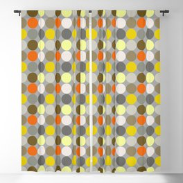Mid-Century Giant Dots, Gray, Gold and Orange Blackout Curtain