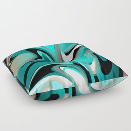 Liquify 2 - Brown, Turquoise, Teal, Black, White Floor Pillow