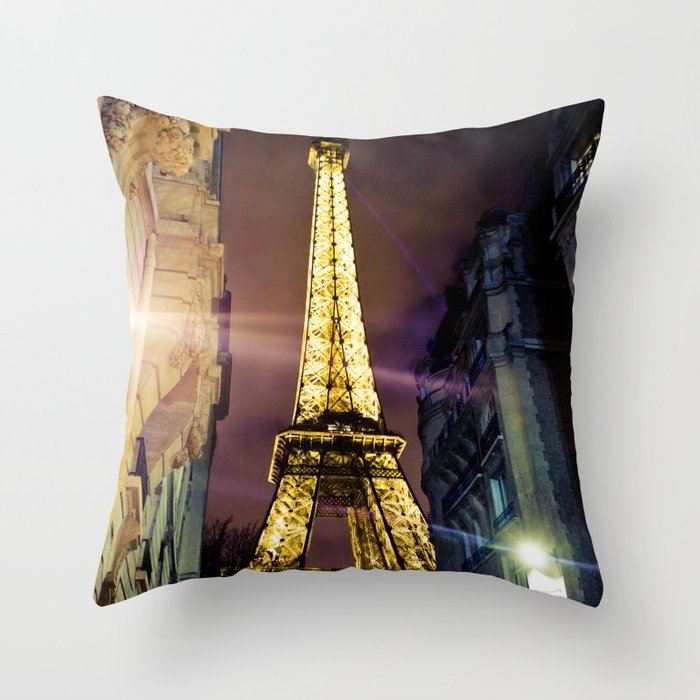 Paris La Nuit Throw Pillow