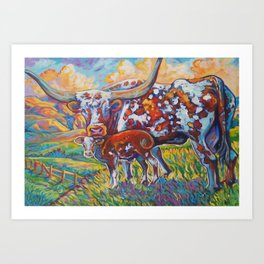 Colorful momma Texas longhorn Art Print