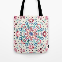 Pastel Blue, Pink & Red Watercolor Floral Pattern on Cream Tote Bag