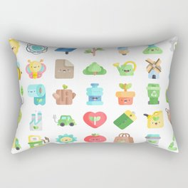 CUTE GREEN / ECO / RECYCLE PATTERN Rectangular Pillow