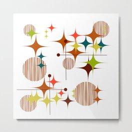 Midcentury Modern Starbursts and Globes 4 Metal Print