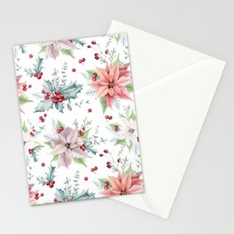 Christmas Poinsettias, Holly Leaves, Berries Pattern Stationery Cards