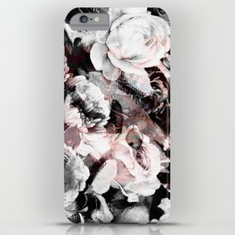 flowers - roses and black marble iPhone Case