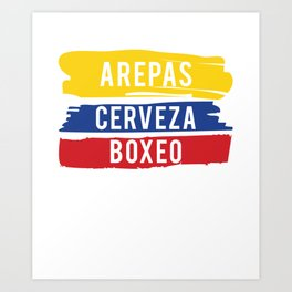 Arepas Cerveza Boxeo design Colombian flag Boxing fan Gift Art Print