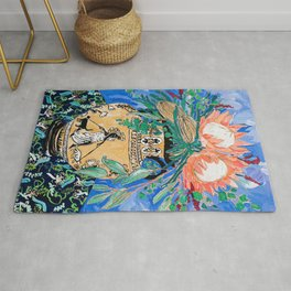 Cat Walk: Protea and Banksia Bouquet Floral Still Life with Greek Urn featuring Woman Walking Cats Rug