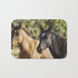A Filly and a Colt from Garcia's band - Pryor Mustangs Bath Mat