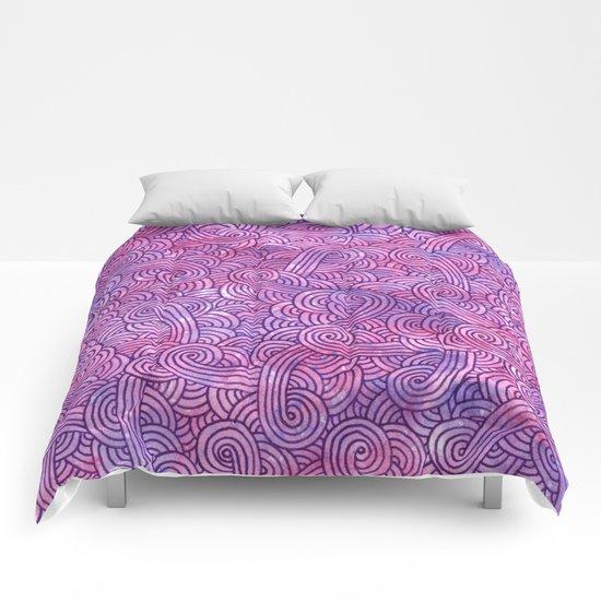 Neon pink and purple swirls doodles Comforters