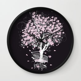 Blooming tree in shopping cart Wall Clock