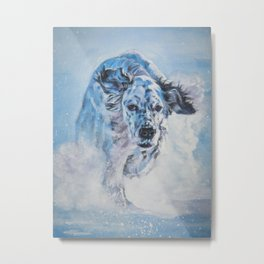 English Setter in Snow dog art from an original painting by L.A.Shepard Metal Print