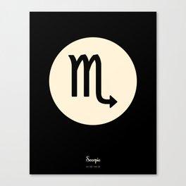 Scorpio Symbol Black Canvas Print
