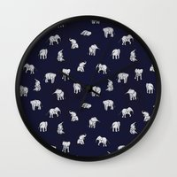 navy Wall Clocks featuring Indian Baby Elephants in Navy by Estelle F
