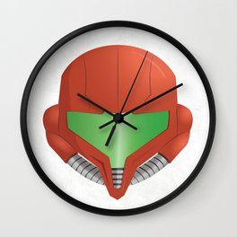 Samus Helmet - Super Metroid white Wall Clock