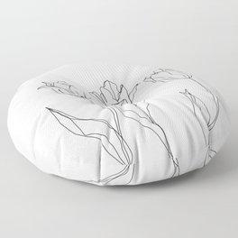 Botanical illustration line drawing - Three Tulips Floor Pillow