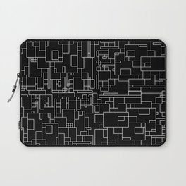 Circuitry - Abstract, geometric, black and white Laptop Sleeve