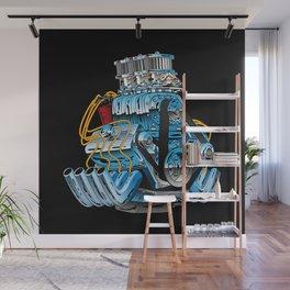 Classic Muscle Car Hot Rod Chrome Racing Engine Cartoon Wall Mural