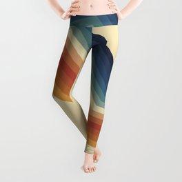 Funky Colorful 70s Rainbow Striped Zig Zag Pattern Blue Orange Hues Leggings