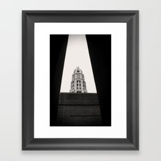 Mather Tower Building Top Chicago Black and White Photo Framed Art Print