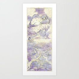 Exploring with Magpie - Blue Art Print
