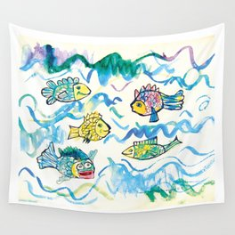 Funny fishes Wall Tapestry
