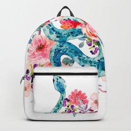Blue Watercolor Snake In The Flower Garden Backpack